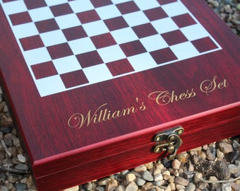 Personalized Chess Set includes Engraved wood Case