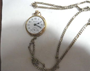 1904 Hampden Pocket Watch Gold Filled Case 15J with Gold Plated Chain 31mm watch 24 inch Chain