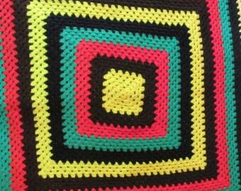 Vintage Granny Square Afghan, Boho Colors, Crocheted Blanket, Retro Decor