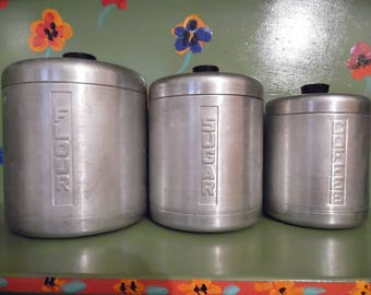 Century Aluminum Metal Canister Set Flour Sugar Coffee Kitchen Container Storage Shelf Decor Mid Century Modern Retro Vintage