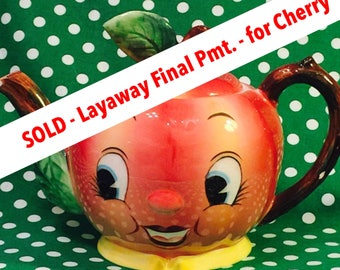 SOLD - Layaway Final Pmt - for Cherry - PY Anthropomorphic Apple Face Tea Pot made in Japan circa 1950s