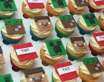24x Edible Mini Minecraft cake toppers