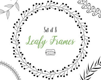 Circle Frames, Digital Wreath, Frame Clip Art, Leafy Wreath, Circle Clipart, Digital Download, Clip Art Set, Commercial Use, PNG