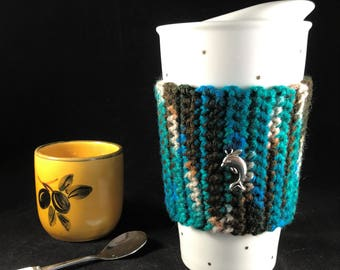 Turquoise coffee cup sleeve, Coffee cozy, Crochet coffee cup cozie, Dolphin coffee cozie, Charm coffee cozy, Reusable sleeve Back to school