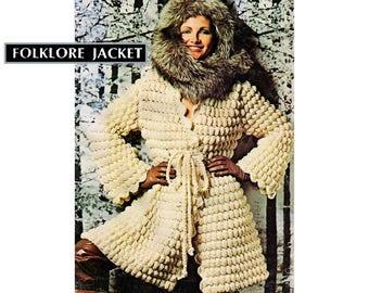 "PDF of vintage crochet pattern, ""Folklore Jacket"", wrap front/tie belt, bulky texture, popcorn stitch, scalloped edge, small/medium, 1960's."