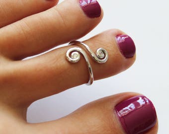 CZ Swirl Sterling Silver Toe Ring - One Size Fits All - Adjustable - or wear as Midi Ring