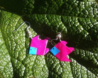 Pink and blue origami fish earrings