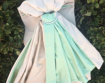 Tan and Mint Green Baby Sling - EXTRA WIDE!