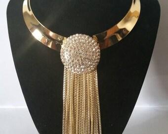 Statemement gold colour rhinestone choker bib tassle orange necklace and earring  set