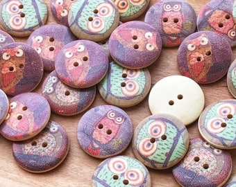 30mm WoodOwl Buttons, cute buttons, sewing, crafts. 10 buttons per pack