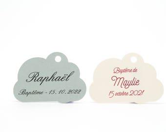 10 cloud, 3 x 4.3 cm, personalized labels for your baptism favors