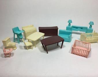 Superior Plastic Dollhouse Furniture, Small Scale Soft Plastic 50s Dollhouse Furniture