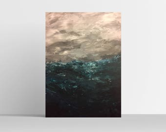 Oceans Rise Acrylic Painting on Smooth Panel Board Canvas Wall Art Home Decor 9x12in