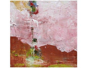 small bright abstract original oil painting 12 x 12 modern adobe red pink green blue ready to hang contemporary art MCM