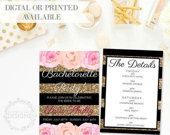 Bachelorette Party Invitation   Black & Gold