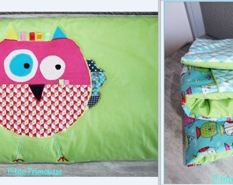 """OWL"" for 60/120 double cotton bed cover/quilt fleece 2 cm."