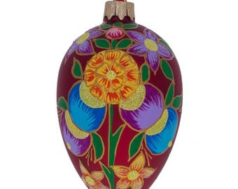 "4"" Colorful Flowers on Red Glass Christmas Ornament"