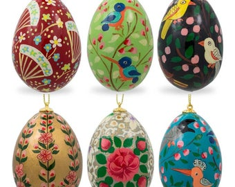 "3"" Set of 6 Flowers and Birds Ukrainian Wooden Easter Egg Ornaments"