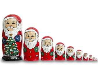 "10.25"" Set of 10 Smiling Santa Figurines with Christmas Tree Wooden Nesting Dolls"