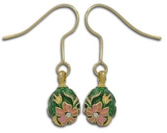 2 Green and Pink Enameled Flowers Egg Earrings