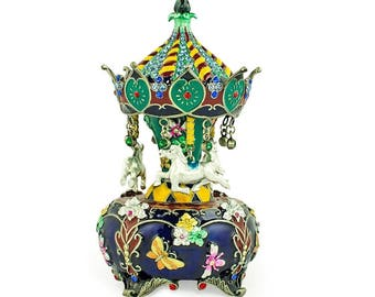 "5.5"" Jeweled Faberge Inspired Russian Carousel Figurine"