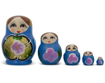 "3.5"" Set of 5 Blue Dress Russian Wooden Nested Dolls"