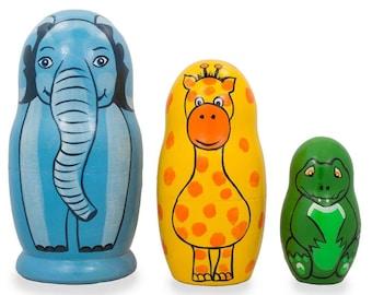 "4.25"" Set of 3 Elephant, Giraffe, and Alligator Wooden Nesting Dolls"