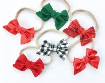 Baby bow, christmas bow, hair bow, headband, baby headband, baby hair bow, baby girl bow, nylon headband