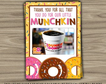 Gift Card Holder - INSTANT DOWNLOAD - Little Munchkin - Donut - Printable Thank You Teacher Appreciation Christmas Last Minute Gift - GC18