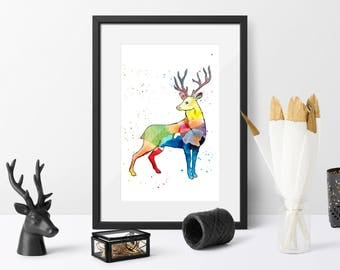 Printable, stag watercolour art, woodland animals, deer, antlers, gift for him, home decor, antlers watercolour art, instant download