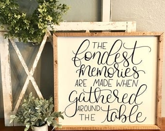 The fondest memories are made when gather around the table, dining room sign, dining room decor, dining room wall art, dining room art