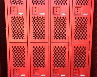 Red Gym Lockers School Lockers Imdustrial Metal Cabinet Vintage Lockers  Storage Cabinet Media Cabinet Industrial Dresser