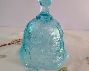 "Vintage ""Retired"" 1970's Fenton ""Lily of the Valley"" Blue Irredescence Bell with Blue Mist Skirt"