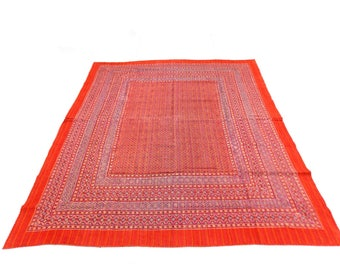Floral Design Indigo Handmade Kantha Throw Bedspread Reversible Vintage Quilt in Orange Color