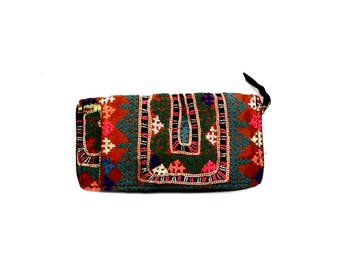 Indian Cotton Banjara Embroidery Clutch Bag in Multi Color
