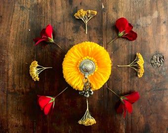 Handmade Brooch - Kuchi Button Yellow Afghani ethnic bohemian