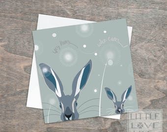 Greetings card 'Grey hares ..who cares!' - Grey Hair Bunny card -Birthday card for an older person - Cute little bunny card, Rabbits, Hares