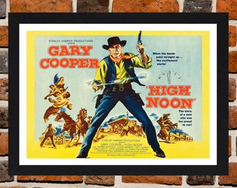 Framed High Noon Gary Cooper Western Movie / Film Poster A3 Size Mounted In Black Or White Frame (Version -1)