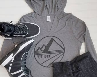 Free to Be Gray Hooded Long Sleeve Tee