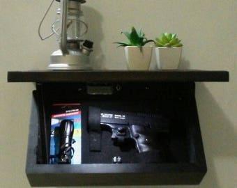 Hidden compartment gun shelf.