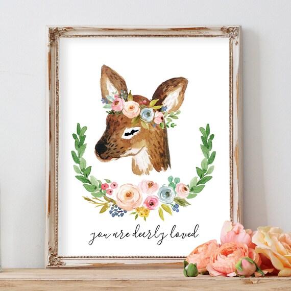 Boho Deer Print, Deer Flower Crown Deer Nursery Decor, Deer Print with Flowers Baby Girl Woodland Nursery Animal Wall Art, Deer Flower Crown