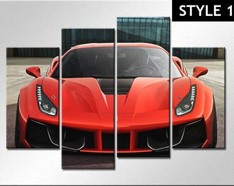 Ferrari 488 gtb Super Car 4 Panel Canvas