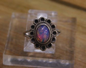 Vintage Sterling Silver Synthetic Opal Ring Size 4.5