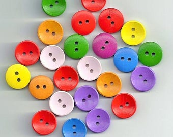 10 Pcs 2 Holes Mixed Color Round Wooden Sewing Clothing Buttons Scrapbooking (56)