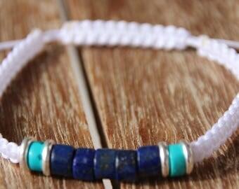 shamballa bracelet with turquoise bead and lapis lazuli