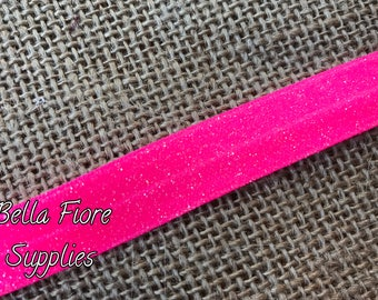 Hot Pink Glitter Fold Over Elastic- Hot Pink FOE- Glitter FOE- Fold Over Elastic- Wholesale Elastic- Sparkle FOE- Elastic By The Yard-