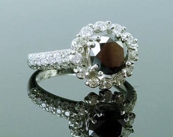 ON SALE 1.37ct Fancy Black Diamond Solitaire & 14K White Gold Vintage Engagement Ring - Size 7