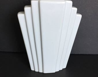 Chic White Art Deco Vase / Ceramic / Small with Big Style Impact