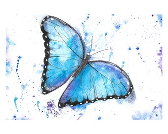 Print of Watercolour and Ink Drawing Painting Butterfly Nature