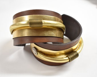 Brass and Leather bracelets or Bangles